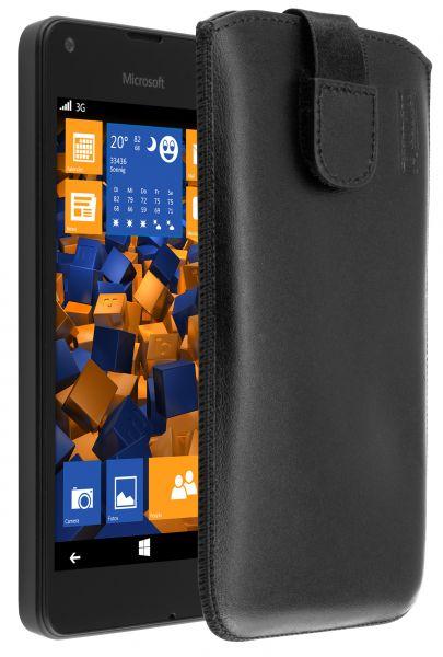 Leder Etui Tasche mit Ausziehlasche schwarz für Microsoft Lumia 550