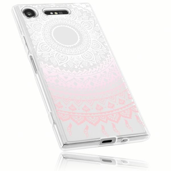 TPU Hülle Ultra Slim transparent weiß rosa Motiv Mandala für Sony Xperia XZ1