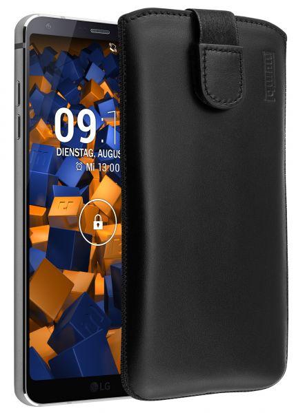 Leder Etui Tasche mit Ausziehlasche schwarz für LG G6