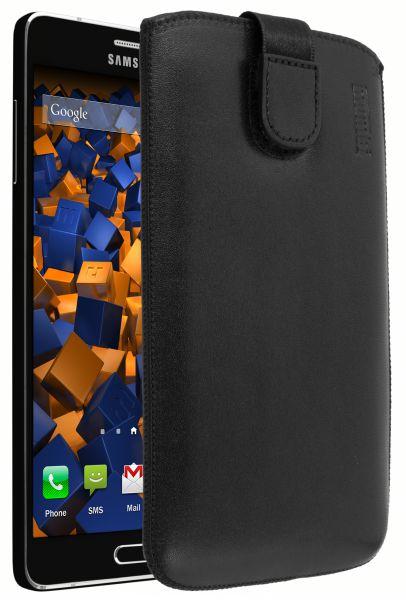 Leder Etui Tasche mit Ausziehlasche schwarz für Samsung Galaxy A7