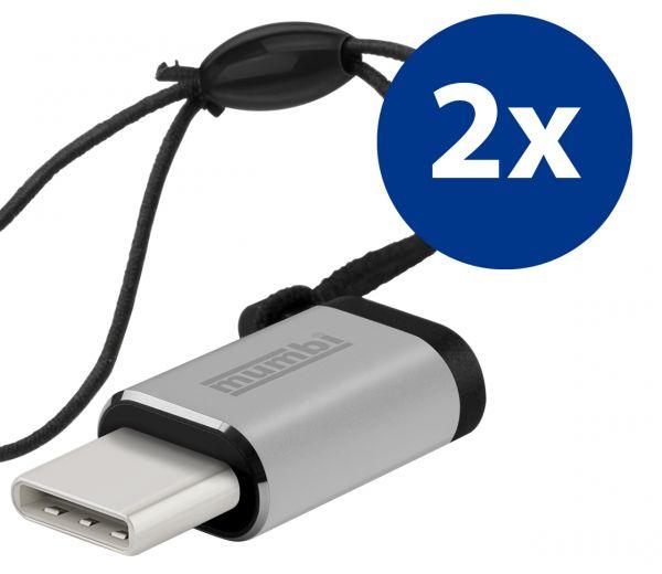 2x Adapter silber USB 3.1 Typ C (Stecker) auf Micro USB (Buchse) mit Gummiband