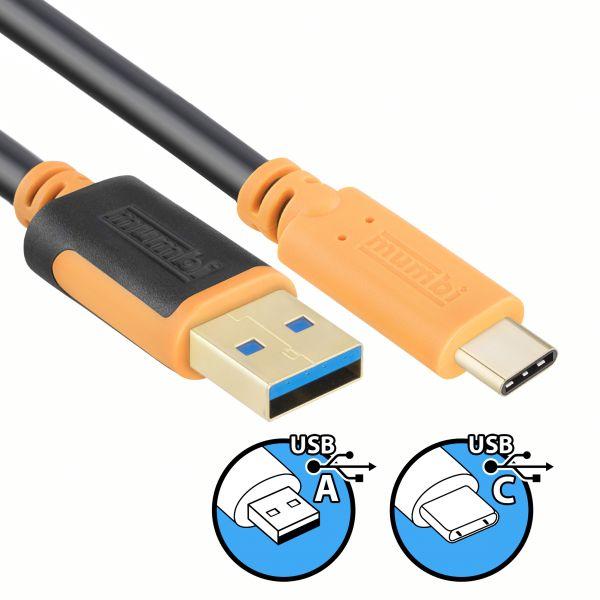 USB 3.0 Daten- und Ladekabel 2m - USB A 3.0 Stecker auf USB C Stecker vergoldet