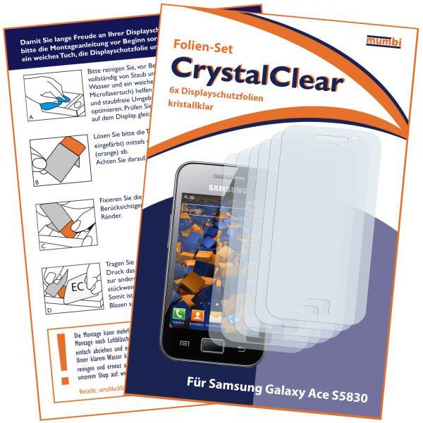 Displayschutzfolie 6 Stck. CrystalClear für Samsung Galaxy Ace