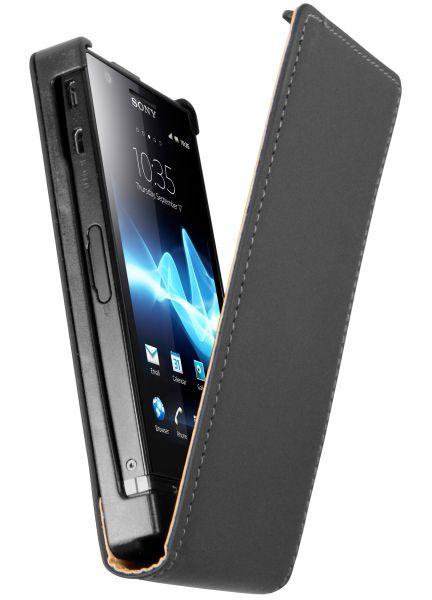 Flip Case Tasche schwarz für Sony Xperia P