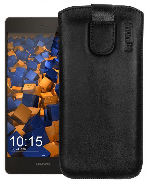 Leder Etui Tasche mit Ausziehlasche schwarz für Huawei P8 Lite (2015)