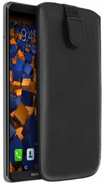 Leder Etui Tasche mit Ausziehlasche schwarz für Huawei Mate 10 Pro