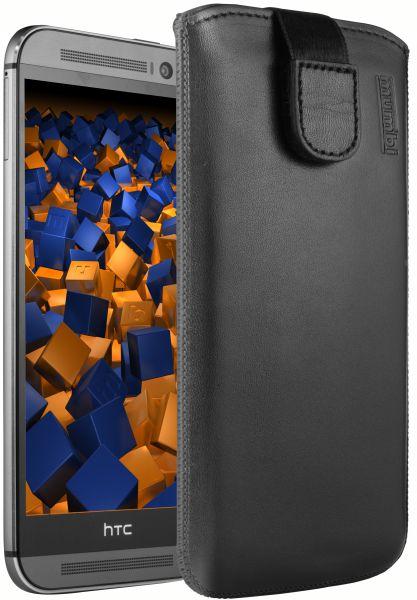 Leder Etui Tasche mit Ausziehlasche schwarz für HTC One M8 / M8s