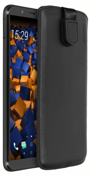 Leder Etui Tasche mit Ausziehlasche schwarz für HTC Desire 12 Plus