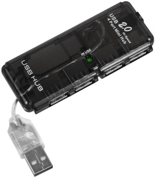 USB A HUB USB 2.0 4 Port Anschlüsse Bus powered ohne Netzteil Plug & Play Windows 2000 XP Vista 7 Ma