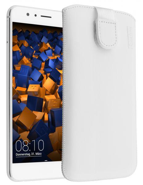 Leder Etui Tasche mit Ausziehlasche weiß für Huawei Honor 8