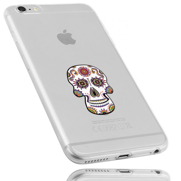 TPU Hülle Ultra Slim transparent Motiv Calavera weiß für Apple iPhone 6 / 6s