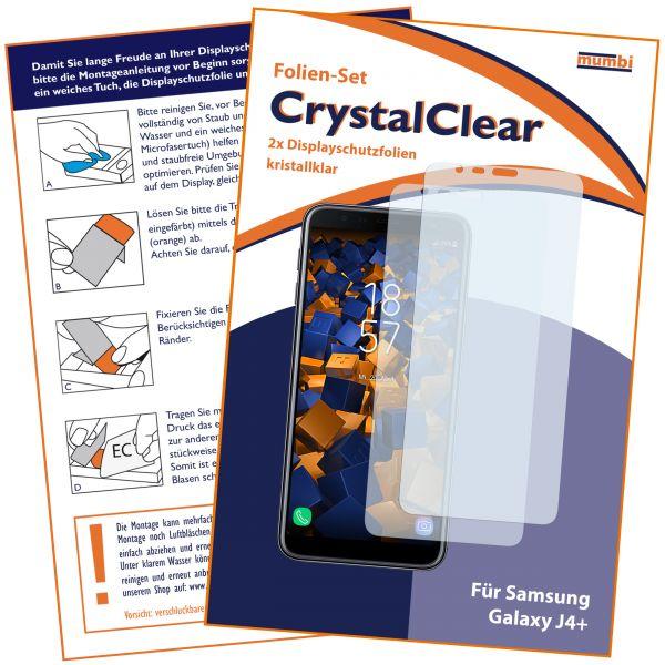 Displayschutzfolie 2 Stck. CrystalClear für Samsung Galaxy J4 Plus