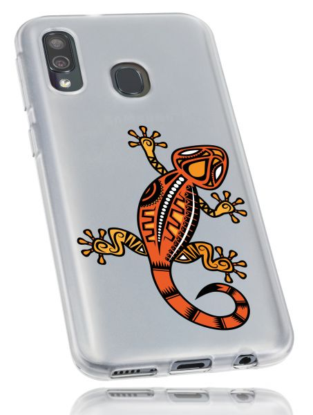 TPU Hülle weiß transparent Motiv Gecko für Samsung Galaxy A40