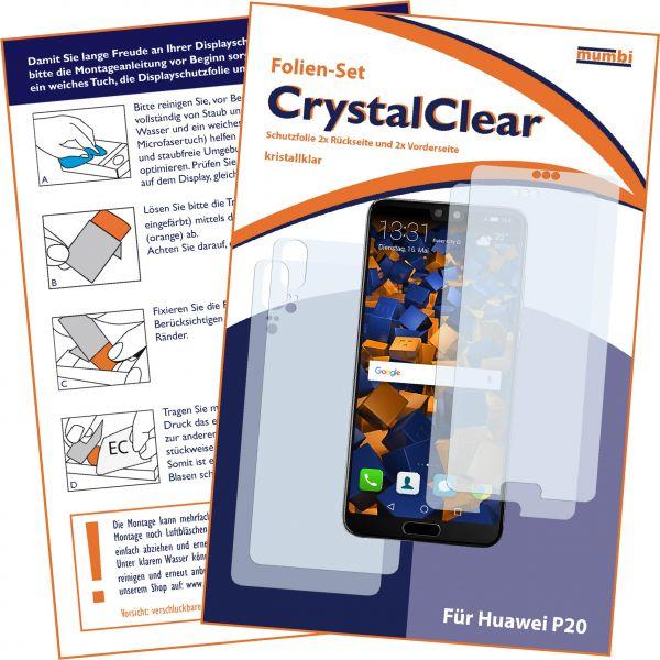 Displayschutzfolie 4 Stck. CrystalClear für Huawei P20 (Vorder- und Rückseite)