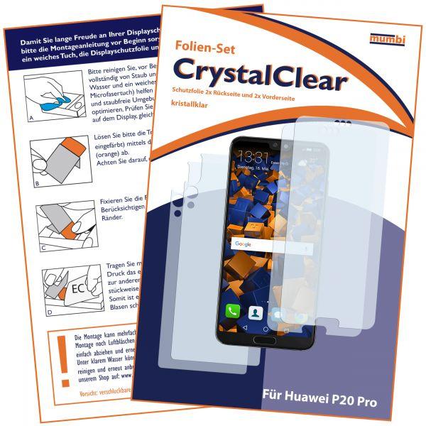 Displayschutzfolie 4 Stck. CrystalClear für Huawei P20 Pro (Vorder- und Rückseite)
