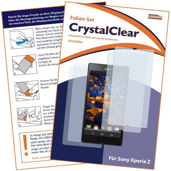 Displayschutzfolie 4 Stck. CrystalClear für Sony Xperia Z (2x vorne und 2x hinten)