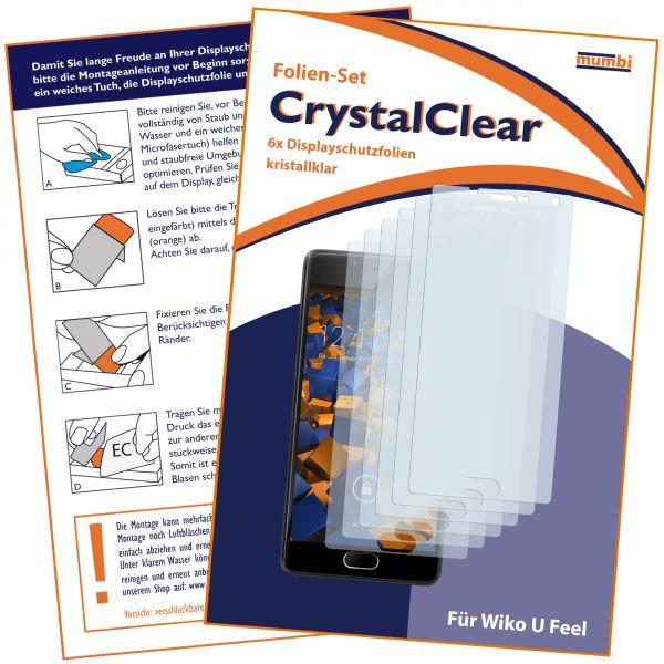 Displayschutzfolie 6 Stck CrystalClear für Wiko U Feel