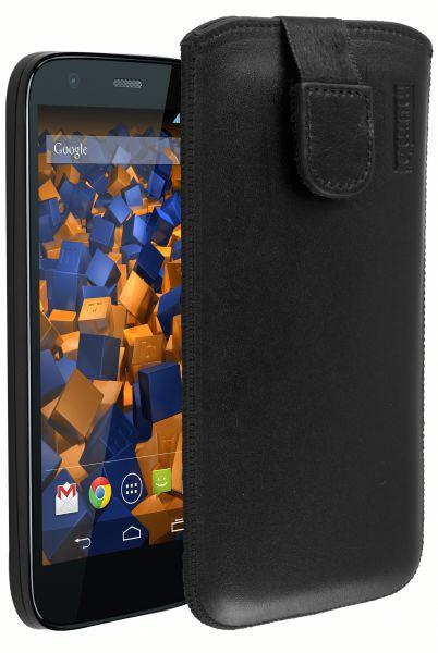 Leder Etui Tasche mit Ausziehlasche schwarz für Motorola Moto G