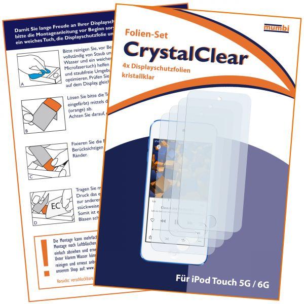 Displayschutzfolie 4 Stck CrystalClear für Apple iPod Touch 5G / 6G