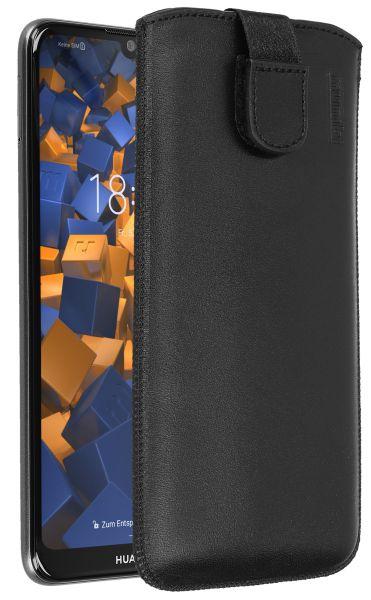 Leder Etui Tasche mit Ausziehlasche schwarz für Huawei Y6 (2019)
