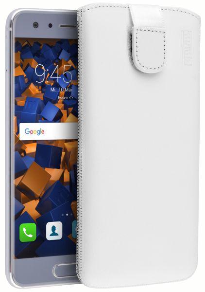 Leder Etui Tasche mit Ausziehlasche weiß für Huawei Honor 9