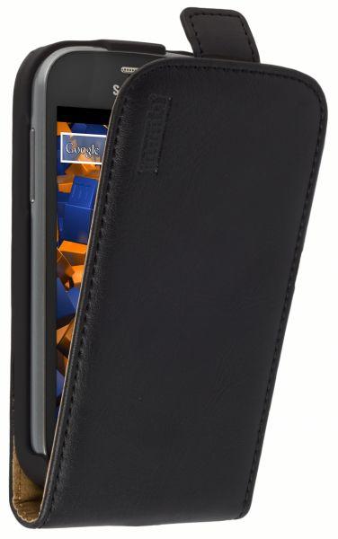 Flip Case Ledertasche schwarz für Samsung Galaxy Trend Lite
