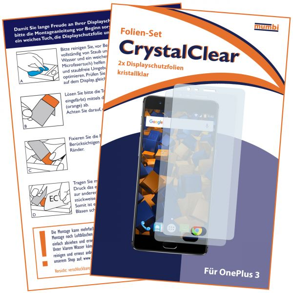 Displayschutzfolie 2 Stck. CrystalClear für OnePlus 3 / 3t