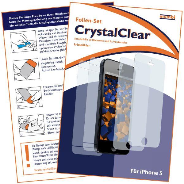 Displayschutzfolie CrystalClear für Apple iPhone SE / 5 / 5s (2x vorne und 2x hinten)