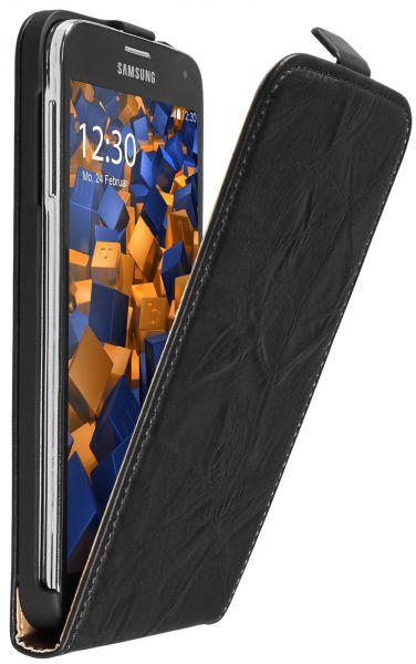 Flip Case Tasche Wildlederoptik schwarz für Samsung Galaxy S5 / S5 Neo