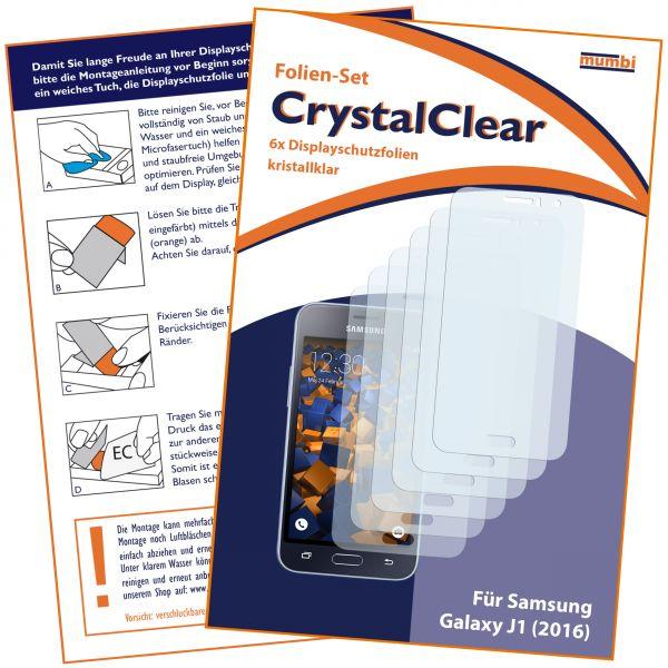 Displayschutzfolie 6 Stck. CrystalClear für Samsung Galaxy J1 (2016)