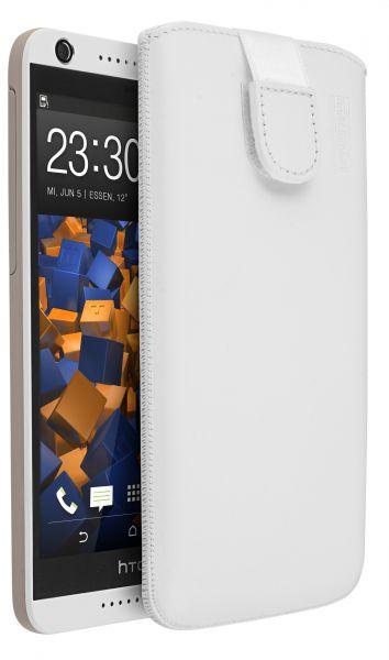 Leder Etui Tasche mit Ausziehlasche weiß für HTC Desire 626G