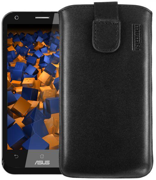 Leder Etui Tasche mit Ausziehlasche schwarz für Asus Padfone 2