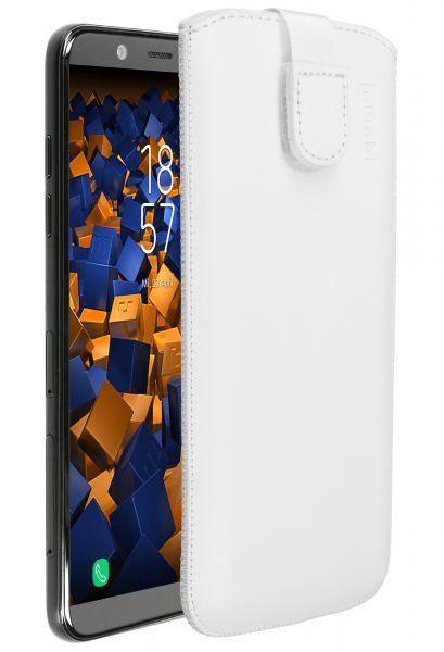 Leder Etui Tasche mit Ausziehlasche weiß für Samsung Galaxy A6