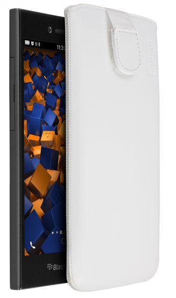 Leder Etui Tasche mit Ausziehlasche weiß für BlackBerry Leap