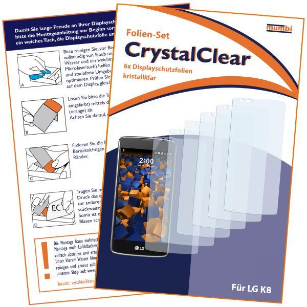 Displayschutzfolie 6 Stck. CrystalClear für LG K8 (2016)