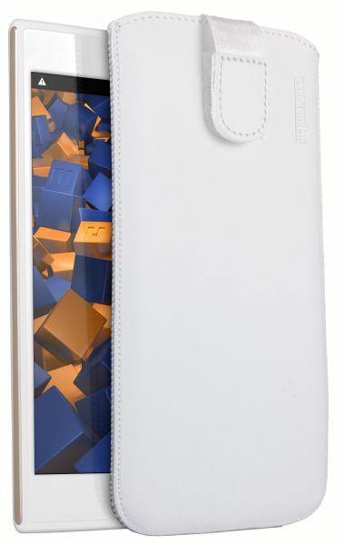 Leder Etui Tasche mit Ausziehlasche weiß für Wiko RIDGE 4G