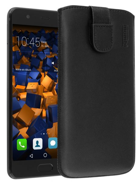Leder Etui Tasche mit Ausziehlasche schwarz für Huawei P10 Plus