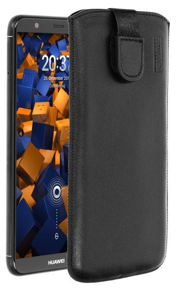 Leder Etui Tasche mit Ausziehlasche schwarz für Huawei P Smart