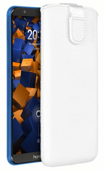 Leder Etui Tasche mit Ausziehlasche weiß für Huawei Honor 7X