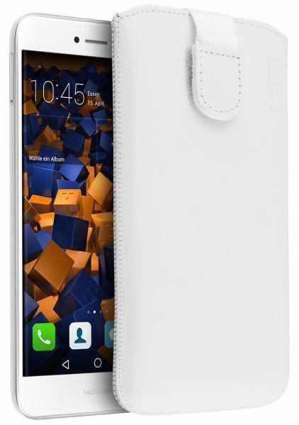 Leder Etui Tasche mit Ausziehlasche weiß für Huawei P8 Lite (2017)