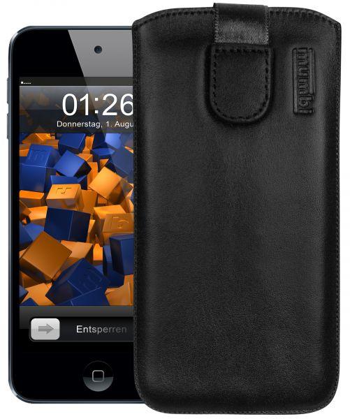 Leder Etui Tasche mit Ausziehlasche schwarz für Apple iPod Touch 5G / 6G