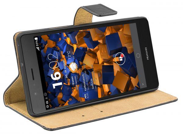 Bookstyle Ledertasche schwarz für Huawei P9 Lite