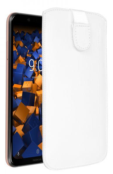 Leder Etui Tasche mit Ausziehlasche weiß für Nokia 8.1