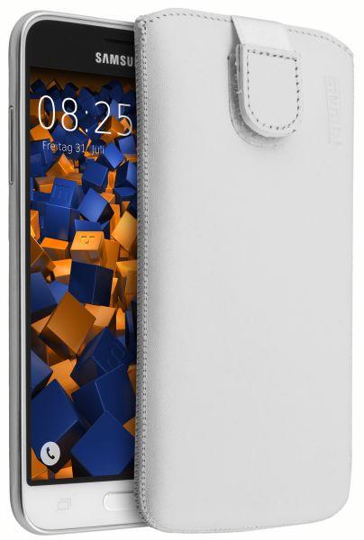 Leder Etui Tasche mit Ausziehlasche weiß für Samsung Galaxy J3 (2016)
