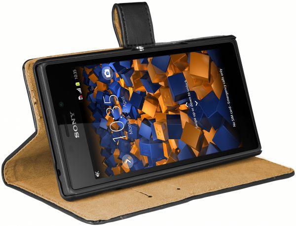 Bookstyle Ledertasche schwarz für Sony Xperia M2