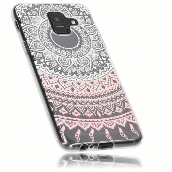 TPU Hülle Ultra Slim transparent weiß rosa Motiv Mandala für Samsung Galaxy A6