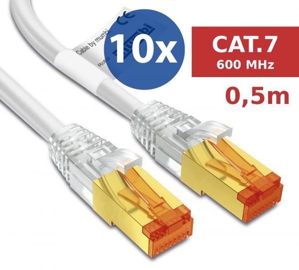 10er Set CAT 7 Rohkabel mit RJ45 Steckern Netzwerkkabel 0,5 Meter Kabel in Weiß