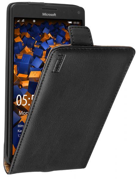 Flip Case Ledertasche schwarz für Microsoft Lumia 950 XL