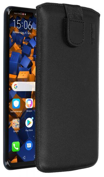 Leder Etui Tasche mit Ausziehlasche schwarz für Huawei P30 lite