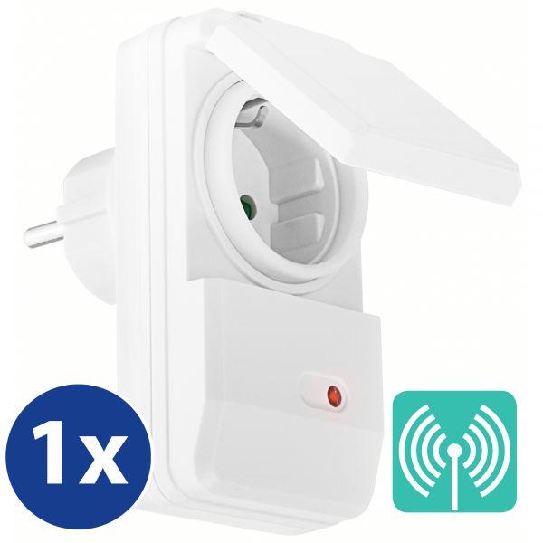 Erweiterungs Outdoor Funksteckdose (4-Kanal) zum Set AFS202 Plug & Play 1100W weiß